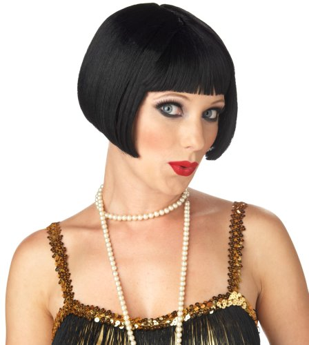 1920s Style Wigs (California Costume Women's Flirty Flapper Wig, Black,)