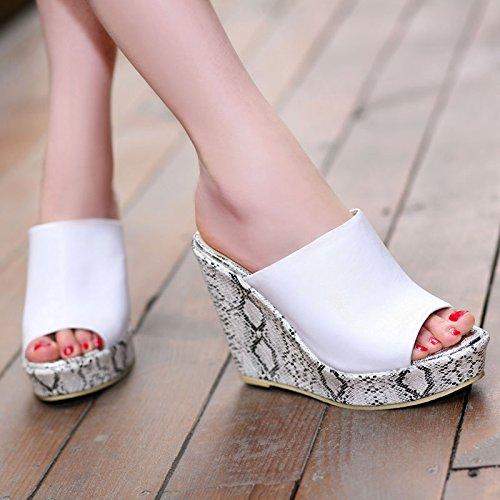 KPHY Zapatillas de Espesor en la Parte Inferior para Mujer, para Verano, 12 cm, con Tacón, para Llevar en el Exterior negro