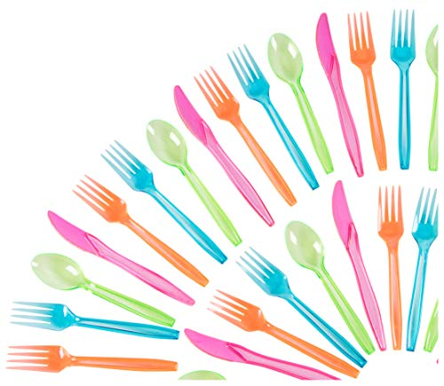 Plastic Silverware Set - 216-Piece Neon Cutlery in Green, Blue, and Pink, Disposable Neon Party Supplies, Includes 54 Spoons, 108 Forks, 54 Knives -