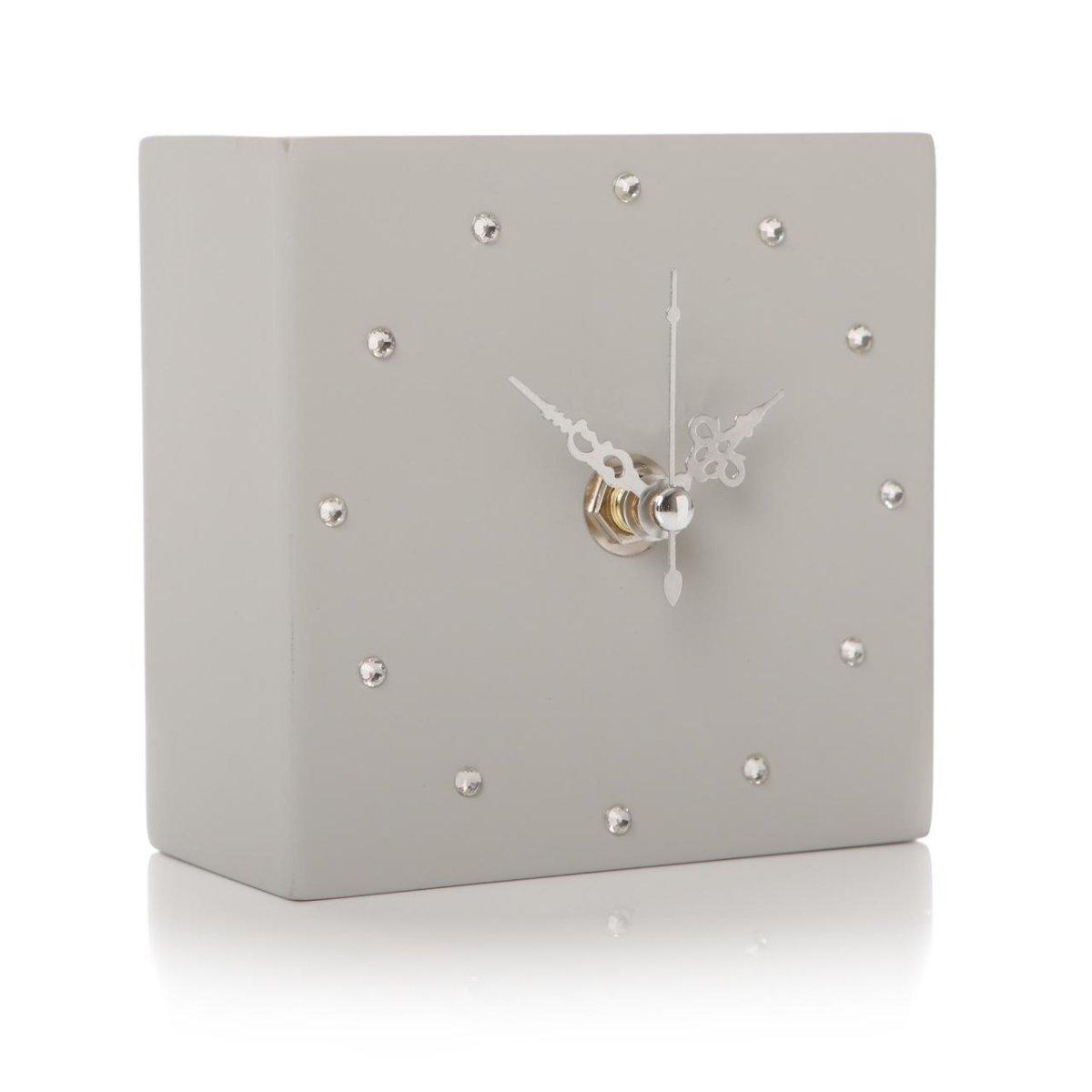 Glamorous Shruti Gem Crystal Cube Shelf Mantel Clock - Various Colours (Light Grey) Junction 18