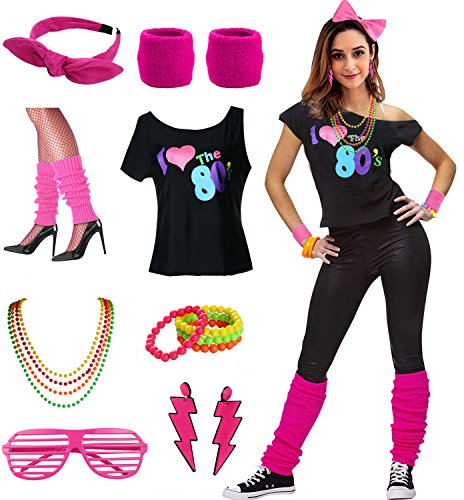 Womens I Love The 80's Disco 80s Costume Outfit Accessories