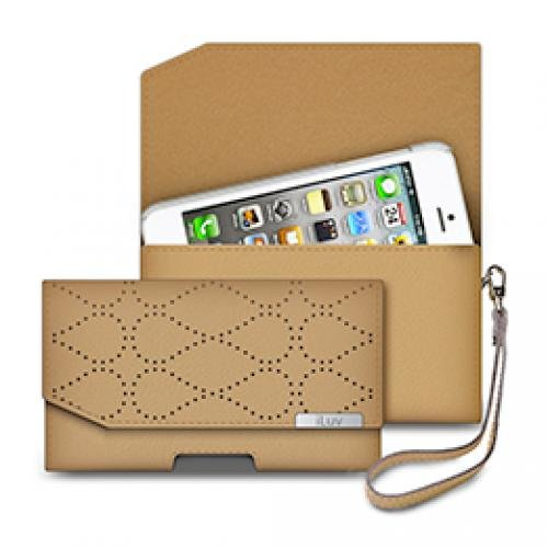 Iluv Black Leather Case (iLuv ICG7O345TAN Atelier Clutch Genuine Leather for Apple iPhone 5 and iPhone 5S - 1 Pack - Retail Packaging - Tan)