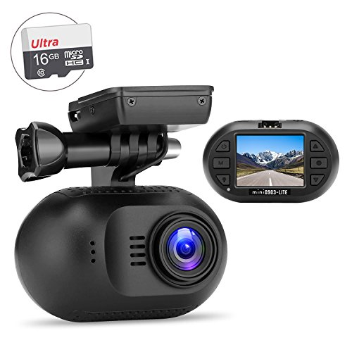 OldShark Mini 1080P Dash Cam, 170 Wide Angle Car On Dash Video, G-Sensor, Night Vision, WDR, Loop Recording Dashboard Camera Recorder,with Super Capacitor,16GB Card