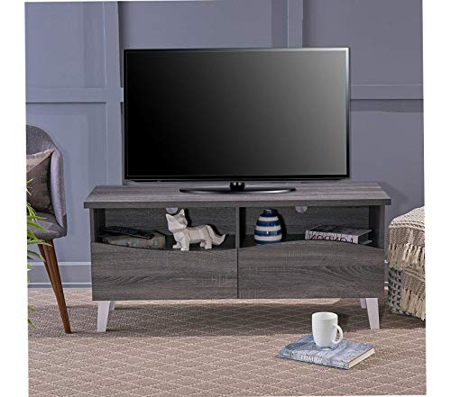 - Wood & Style Gwendolyn Tv Stand Grey Oak/White Decor Comfy Living Furniture Deluxe Premium Collection