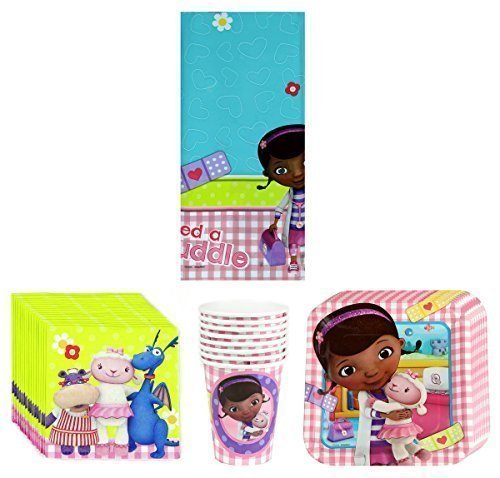 Disney Junior Doc McStuffins Birthday Party Supplies Pack Bundle Kit Including Plates, Cups, Napkins and Tablecover - 8 Guests