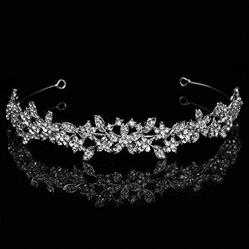 Wedding Bridal Tiara Headband Silver Rhinestones in Floral Pattern by Velvet Bridal