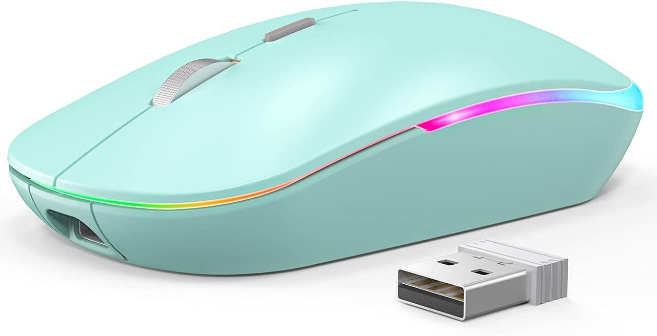 RGB Wireless Mouse, WisFox 2.4G Rechargeable Silent Wireless Bluetooth Mouse, 3 Modes (Bluetooth 5.0/3.0 + USB), LED Ergonomic Mouse for Laptop Desktop Windows Mac iPad (Sky Blue)