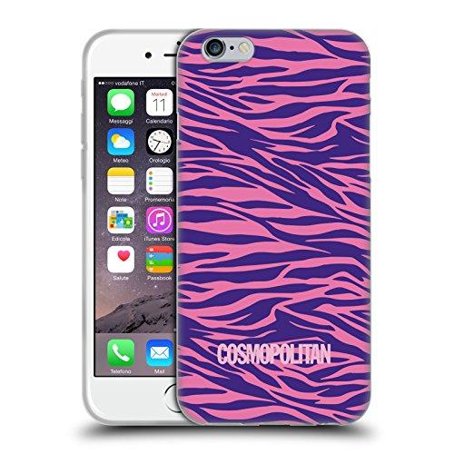 Official Cosmopolitan Pink Violet Zebra Animal Skin Patterns Soft Gel Case for Apple iPhone 6 / 6s