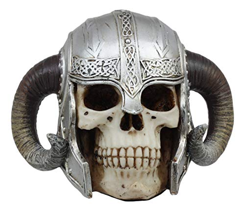 Ebros Ram Horned Viking Chieftain Helmet Skull Statue Nordic Berserker Ragnar The Great Skeleton Cranium Figurine Sculpture As Ossuary Macabre Decor Sculpture