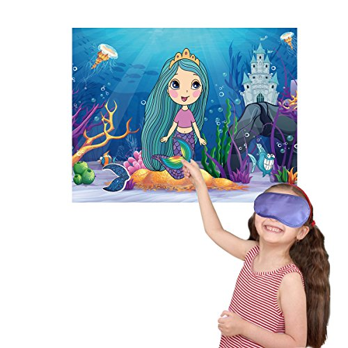 M MISS FANTASY Mermaid Party Supplies Pin the Tail on the Mermaid Under the Sea Party Games for Kids with 24 Reusable Tails Good for Big Parties]()