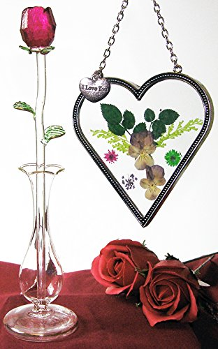 Heart Sun-catcher and Red Crystal Rose Set - I Love You Charm on Suncatcher with Pressed Flowers - Red Forever Rose in Glass Bud Vase - Mother's Day Gifts (Vase Glass Bud Pressed)