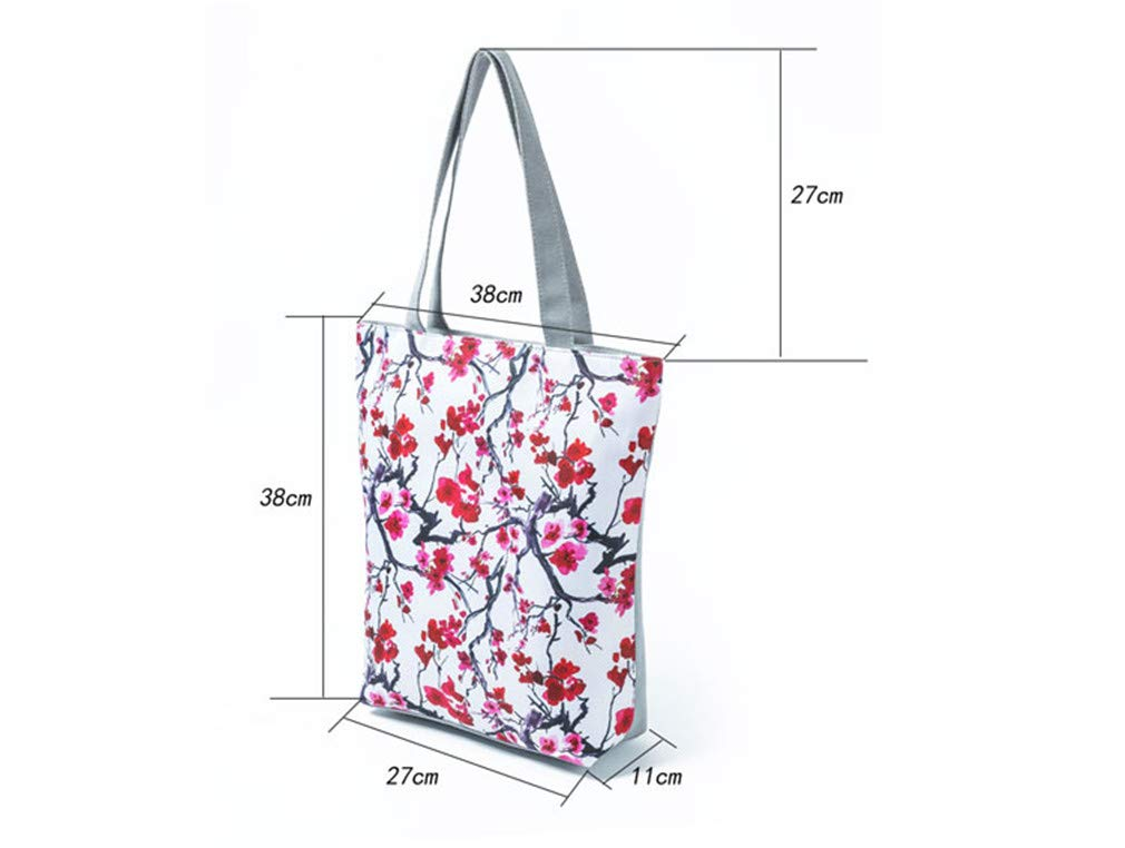 Showinda Leaves Print Tote Handbags Women Canvas Beach Bags Floral Design 1272a by Showinda (Image #2)