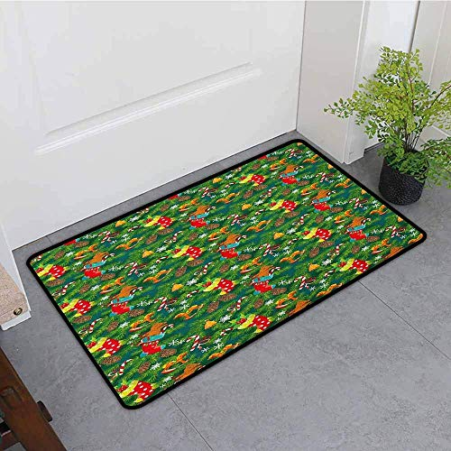 (YGUII Outside Doormat,Christmas Xmas Accessories Stockings Candies Horse Teddy Bear Toys on Pine,All Season Universal,16X23.6in (40x60cm), Dark Green Brown and Red)
