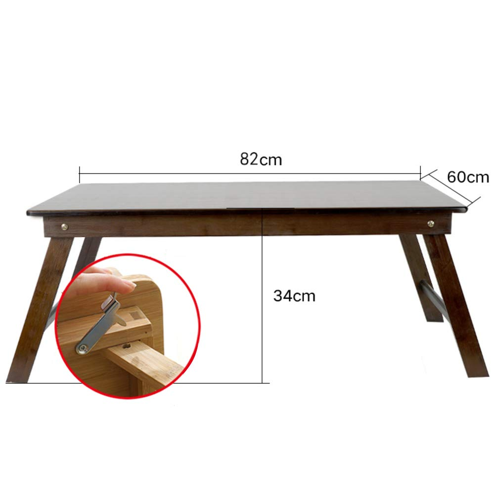 Laptop Desk, Bamboo Notebook Desk Adjustable Lap Tray Large Size Bed Serving Tray Breakfast Foldable Notebook L-Shaped Desk with Bookshelves-g-Lock 82x60cm(32x24inch)