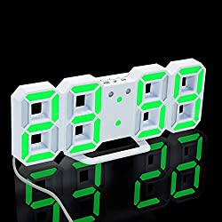 Modern Digital LED Clock,OULucicy Easy to Read at Night Extra Bright LED Desk / Wall Hanging Digital Alarm Clock, 3 adjustable brightness levels (Green Digital)
