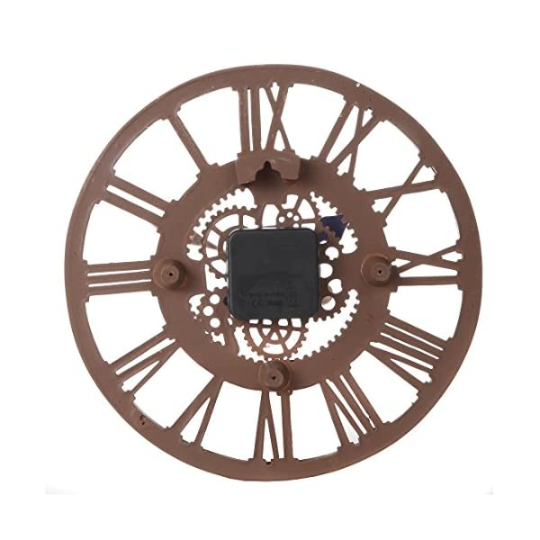Lily's Home Hanging Wall Clock, Steampunk Gear and Cog Design with a Bronze Finish, Ideal for Indoor or Outdoor Use, Poly-Resin (12 Inches Diameter) 5
