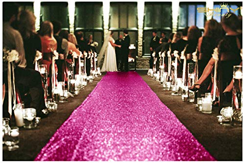 ShinyBeauty Hot Pink Carpet Aisle Runner-36Inchx15FT Sequin Aisles Floor Runner Carpert Runner for Ceremony (Hot Pink)
