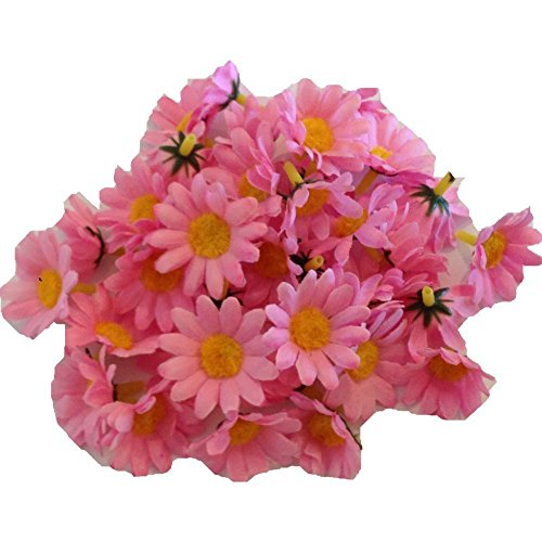 100pcs. Pink Mini Silk Flower Heads, Gerber Daisies Artificial Flowers, Wholesale Lot for Wedding Flower and Party Decor and Headband Clips (Gerber Pink Daisy Wedding)
