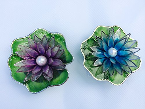 - Capiz Floating Small Water Lily - Pearl - Philippine Westeria (Violet) & Luzon Azure (Blue)