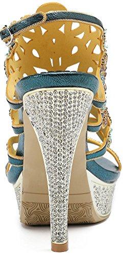 Salabobo L048 Womens Sexy Waterproof Platform Peacock Heels Sandals Glaring Rhinestone Beautiful Pretty Performance Stilettos Blue sTswa