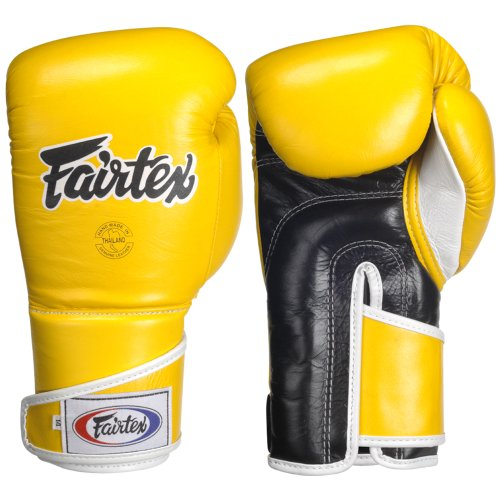 Fairtex Stylish Angular Sparring Glove, Yellow/Black, 14-Ounce