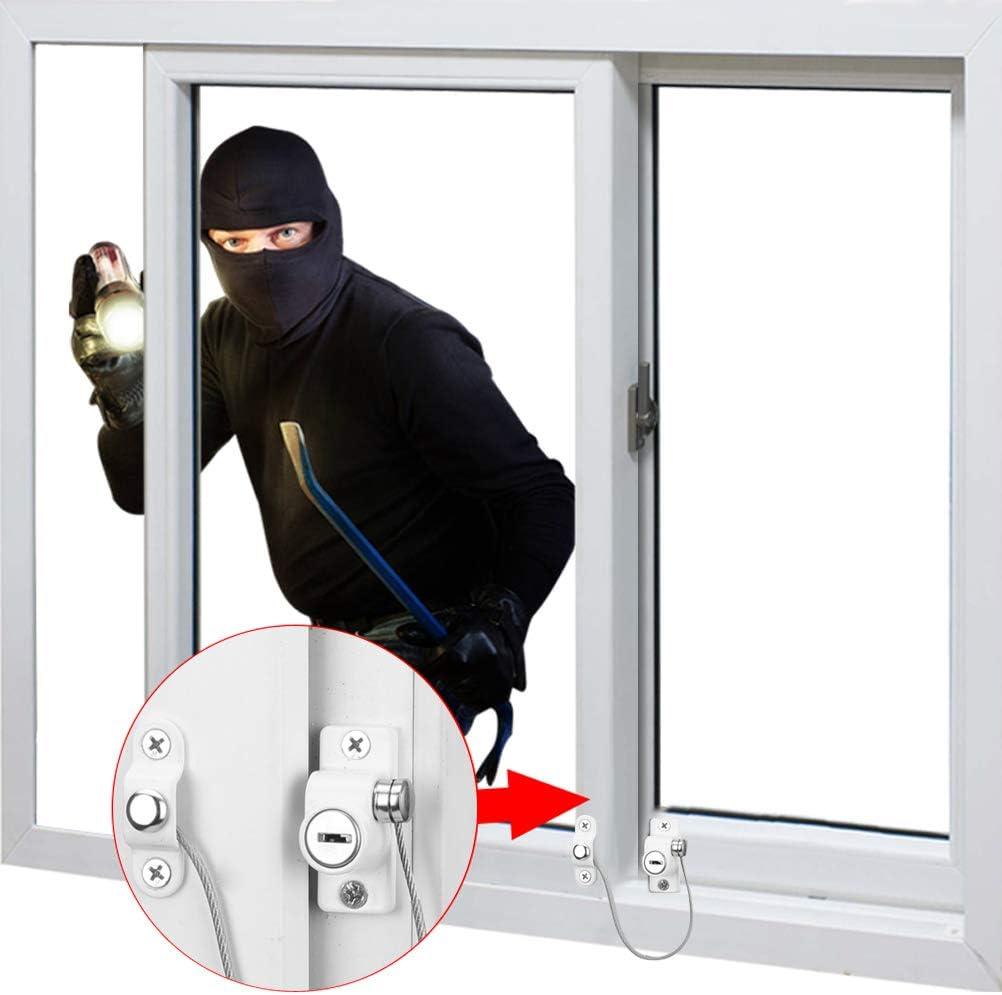 Cerradura de Seguridad para Ni/ños de 2 Pcs con Llave Limitador de Apertura para Ventanas y Puertas Bloqueo de Cable de Seguridad para Ni/ño
