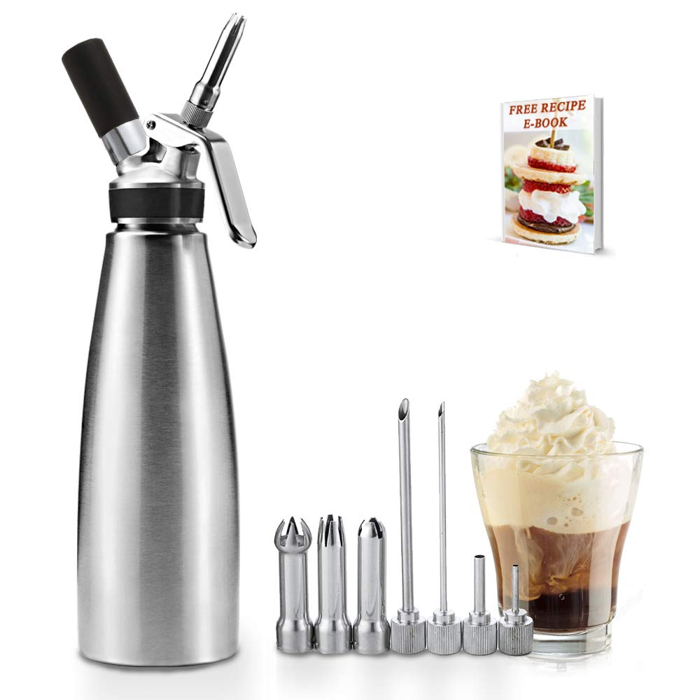 Classic All Stainless Steel Whipped Cream Dispenser 1 Quart - Professional Culinary Cream Whipper with Full Set Injector Tips - Professional 2-Pint Size, Free Recipes Included