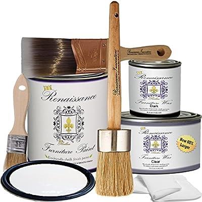 "Renaissance Chalk Furniture Paint Deluxe Starter Kit - 32oz Paint/8oz Clear Wax/4oz Dark Wax/2"" Paint Brush/1.5"" Wax Brush/1"" Detail Wax Brush! - Snow (DSK)"