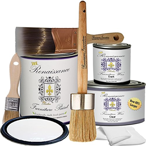 Renaissance Chalk Furniture Paint - Non Toxic, Eco-Friendly, Superior Coverage (Deluxe Starter Kit, Snow 01) (Shabby Chic Paint)