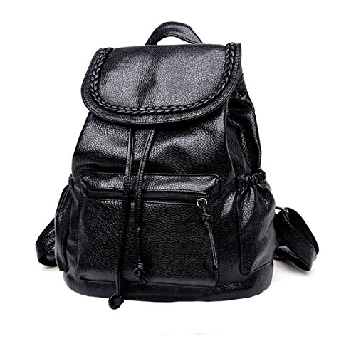 2017 cute small washed leather black mini women backpack purse women leather backpack cheap drawstring backpack (large)