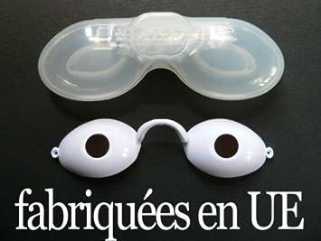 470745c45a38d Lunettes de protection BLANCHES UV pour solarium normes CE avec élastique +  boite notice bronzage bronzer