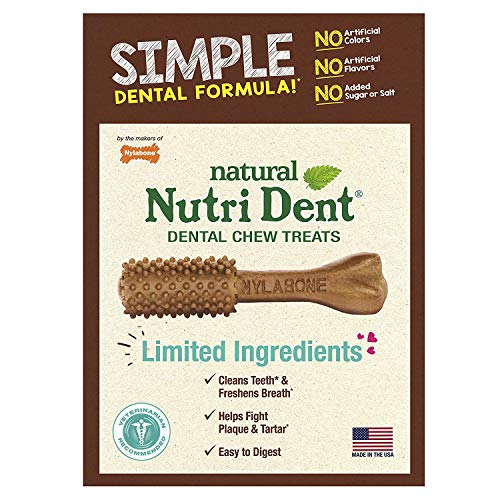 Nutri Dent Limited Ingredient Dental Dog Chews | Mini Size | 125Count | Filet Mignon or Fresh Breath -
