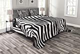 Lunarable Zebra Print Bedspread Set King Size, Wild Zebra Design with Animal Profile Blended Over Itself Abstract Pattern, Decorative Quilted 3 Piece Coverlet Set with 2 Pillow Shams, Black and White