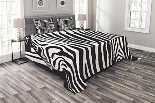 Lunarable Zebra Print Bedspread Set King Size, Wild Zebra Design with Animal Profile Blended Over Itself Abstract Pattern, Decorative Quilted 3 Piece Coverlet Set with 2 Pillow Shams, Black and White by Lunarable