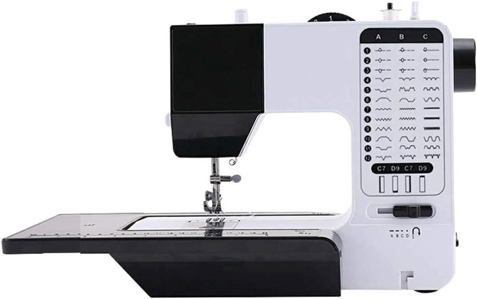 WDXLT Electrica Mini Máquina De Coser,portátil Multi-función Máquina De Coser,16 Puntos Doble Hilo Máquina Overlock,Principiante Casa A 35x23x29cm (14x9x11inch)