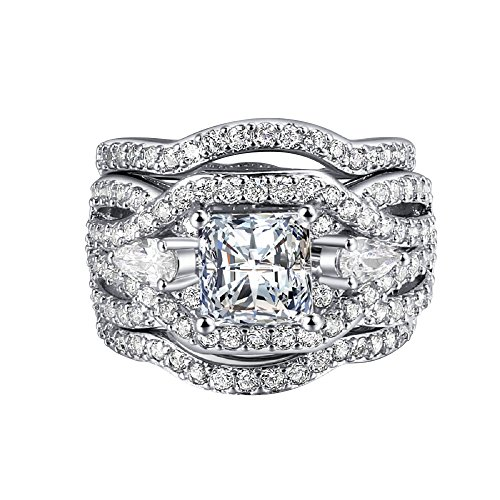 Best Promise Engagement Ring for Her Bridal Set 3Pcs Wedding Band for Women Platinum Plated Princess Cut CZ Rings for Lady Girl, Best Christmas Jewelry Gift, ZY Three Rings, JR643-9 Etoile Band