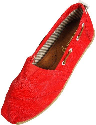 Farasion - Damer Duk Slip-on Loafer Red