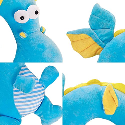 LUCKSTAR U-shaped Pillow - Soft & Small Cartoon Neck Pillow Comfortable Travel Pillow Animal Travel Neck Pillow Plush Toy Provides Relief and Support for Neck Pain Suit for Travel, Home (Blue Dragon) by LUCKSTAR (Image #2)
