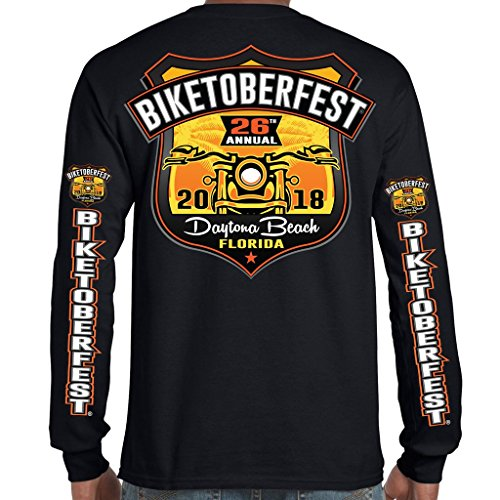 Biker Life USA 2018 Biketoberfest Daytona Beach Official Logo Long Sleeve T-Shirt Black (Biker Logo T-shirt)