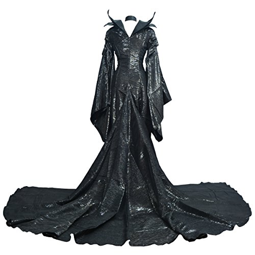 Angelaicos Women's Halloween Cosplay Show Long Black Dress Costume (M) ()