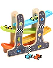 Jacootoys Wooden Ramp Race Track Zig Zag Car Slider Playset with 4 Race Cars Gliding Toy