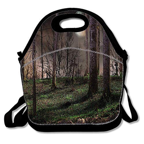 Dark Night in the Forest with Full Moon Horror Theme Grunge Style Halloween Photo Waterproof Reusable Lunch Bags For Men Women Adults Kids Toddler Nurses With Adjustable Shoulder -