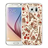 France Paris Love City Eiffel Tower Floral Pattern White Shell Phone Case for Samsung Galaxy S6,Durable Case