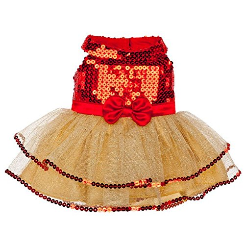 Build A Bear Workshop Gold & Red Tulle Dress