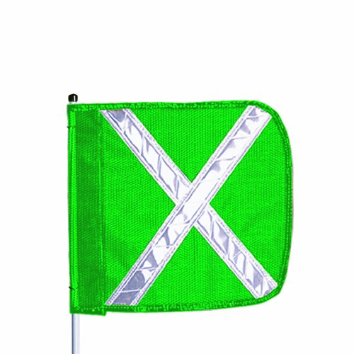 (Flagstaff FS5 Safety Flag with Reflective X, Threaded Hex Base, 12