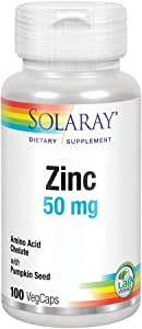 Solaray Zinc 50 mg Amino Acid Chelate | Bioavailable Chelated Complex for Immune System & Cellular Health Support | with Pumpkin Seeds | 100 VegCaps