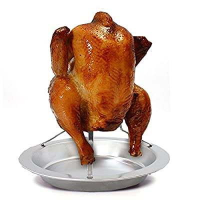 """Stainless Steel Vertical Meat Poultry Chicken Turkey Roaster Stand Rack,7.5""""x 6.7"""" Food Grade Steel,Easy to Operate"""