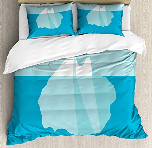 Ice Berg Duvet Cover Set Queen Size,Computer Graphics Of Icy Rock With A Tip Above And The Rest Under Sea,Bedding Cover Set 100% Cotton Boys Girls For Children Teens,Sea Blue Seafoam White