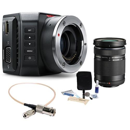Blackmagic Design Micro Ultra HD Studio Camera 4K, Micro Four Thirds Mount - Bundle With Olympus M.zuiko Digital ED 40mm-150mm f/4-5.6 R Lens, BNC Female to DIN 1.0/2.3 RG-179 Cable 1', Cleaning Kit