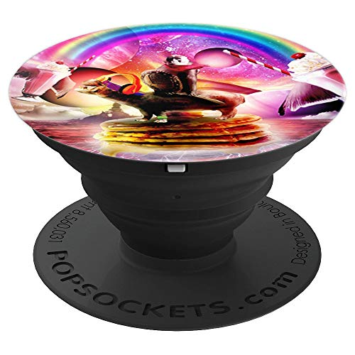 Monkey Riding Hippo With Pancakes And Milkshake - PopSockets Grip and Stand for Phones and Tablets